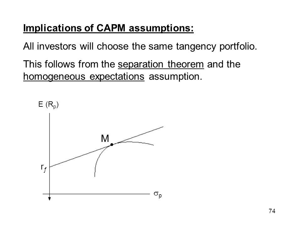 Implications of CAPM assumptions: