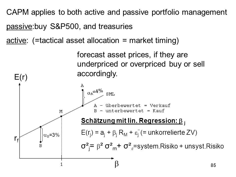 CAPM applies to both active and passive portfolio management