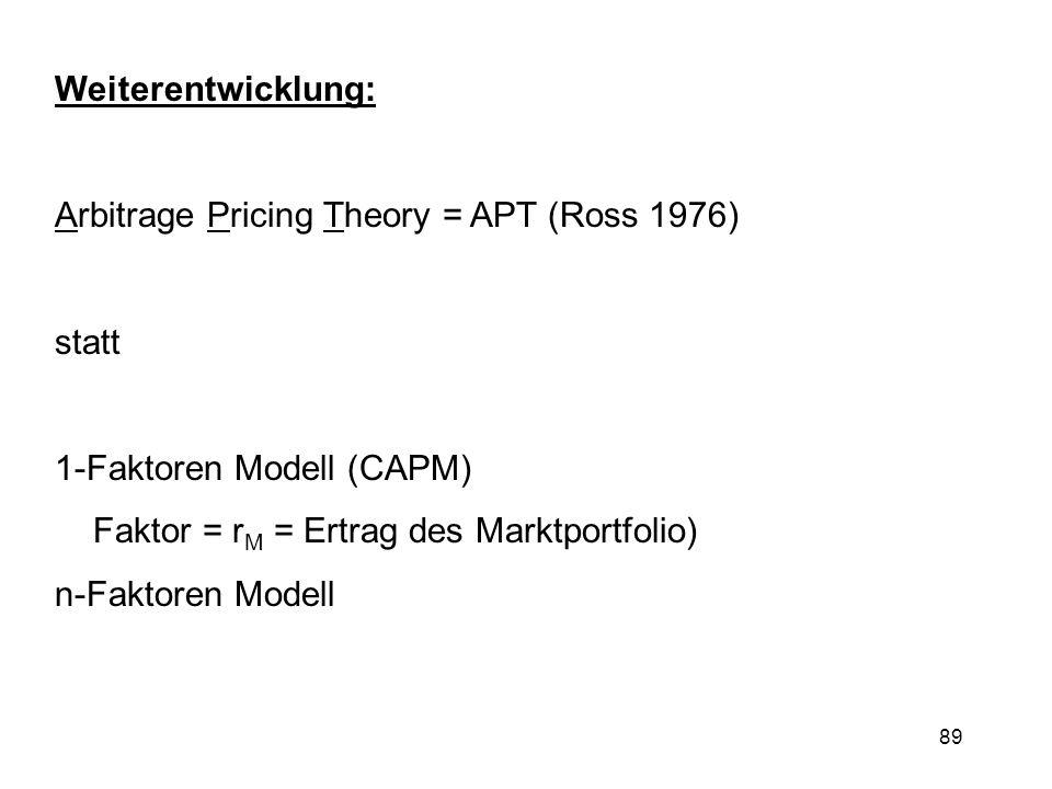 Weiterentwicklung: Arbitrage Pricing Theory = APT (Ross 1976) statt. 1-Faktoren Modell (CAPM) Faktor = rM = Ertrag des Marktportfolio)