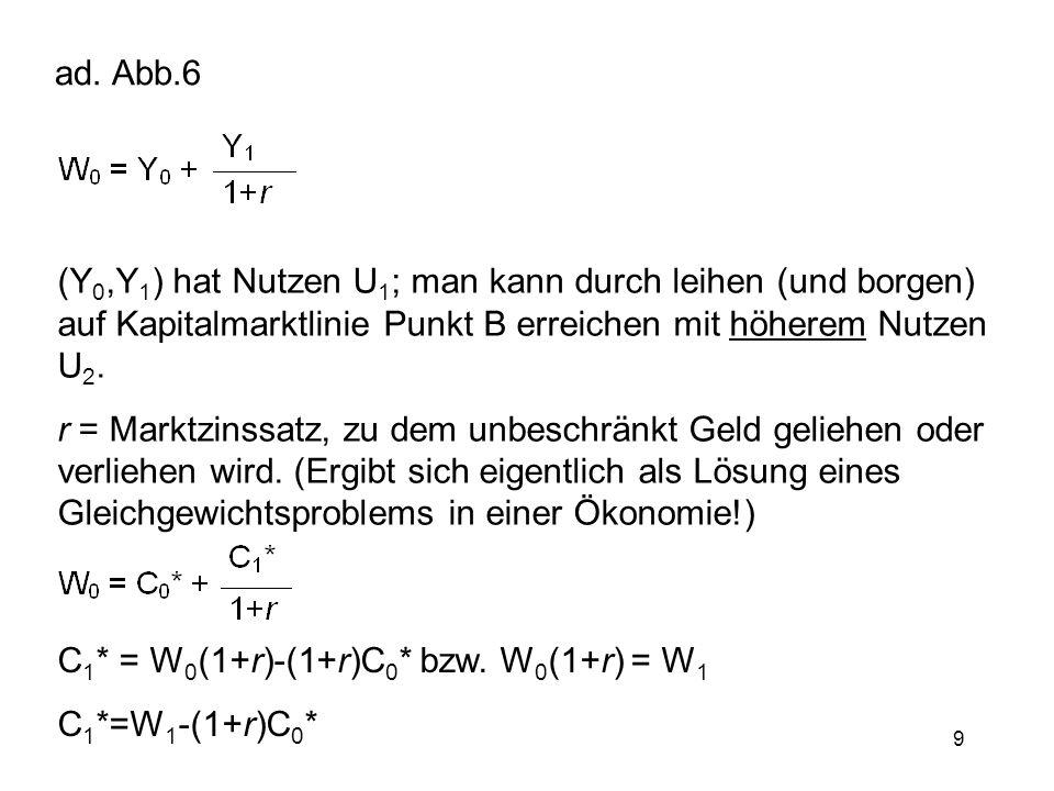 ad. Abb.6 (Y0,Y1) hat Nutzen U1; man kann durch leihen (und borgen) auf Kapitalmarktlinie Punkt B erreichen mit höherem Nutzen U2.