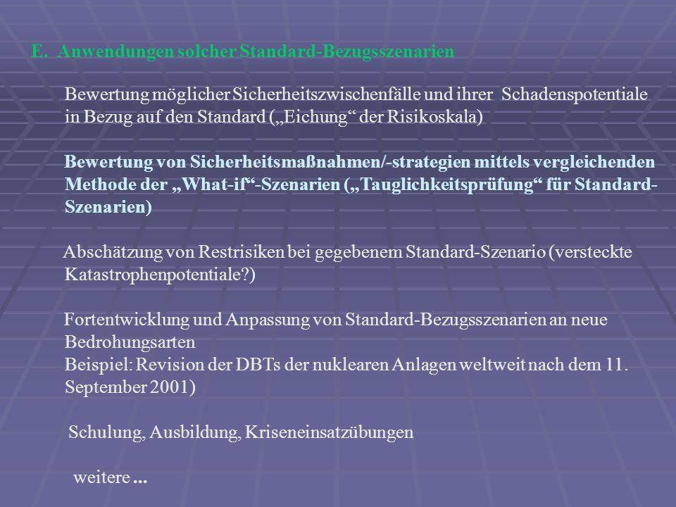 E. Anwendungen solcher Standard-Bezugsszenarien