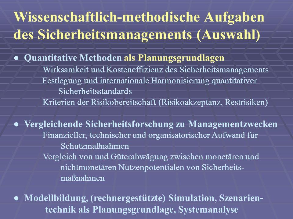 Wissenschaftlich-methodische Aufgaben des Sicherheitsmanagements (Auswahl)