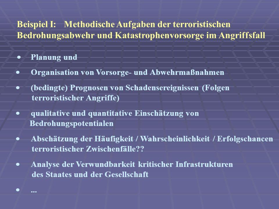Beispiel I: Methodische Aufgaben der terroristischen Bedrohungsabwehr und Katastrophenvorsorge im Angriffsfall