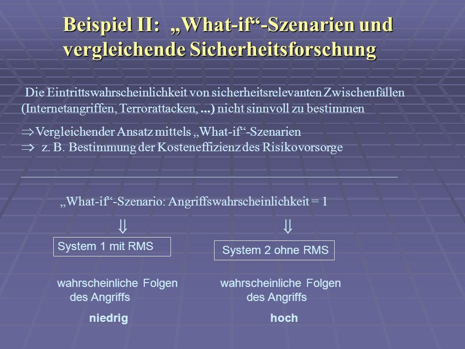 """Beispiel II: """"What-if -Szenarien und vergleichende Sicherheitsforschung"""
