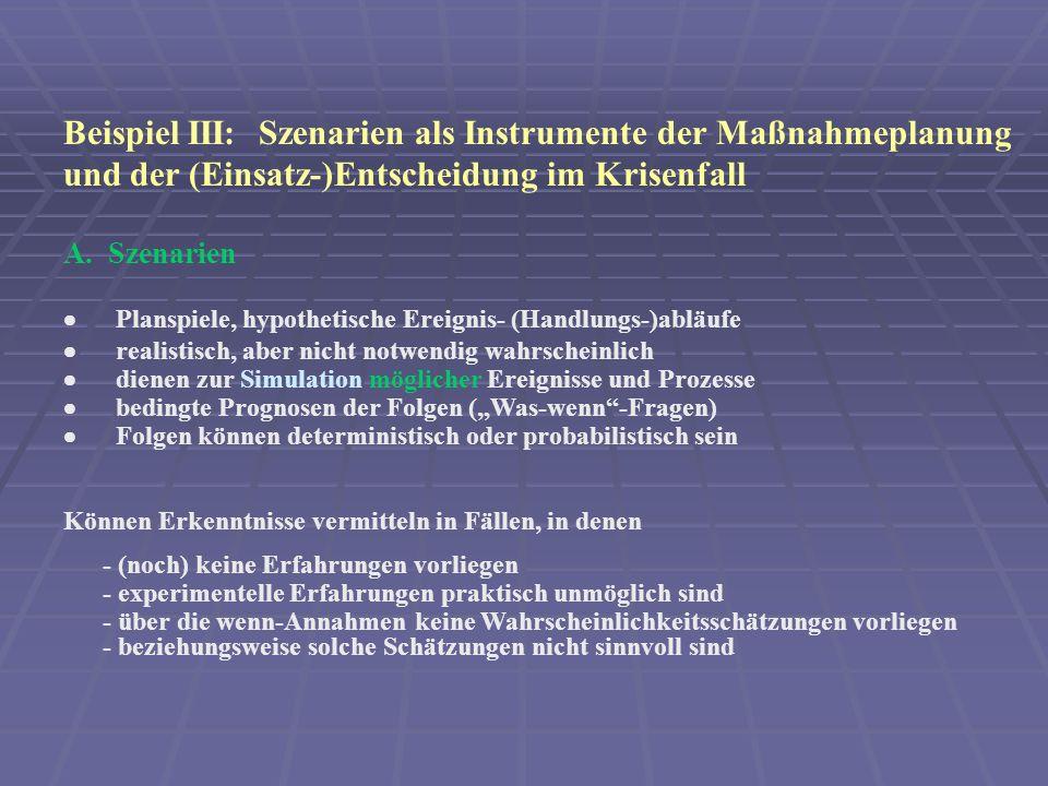 Beispiel III: Szenarien als Instrumente der Maßnahmeplanung und der (Einsatz-)Entscheidung im Krisenfall