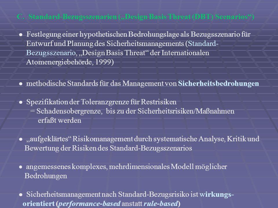 "C. Standard-Bezugsszenarien (""Design Basis Threat (DBT) Scenarios )"