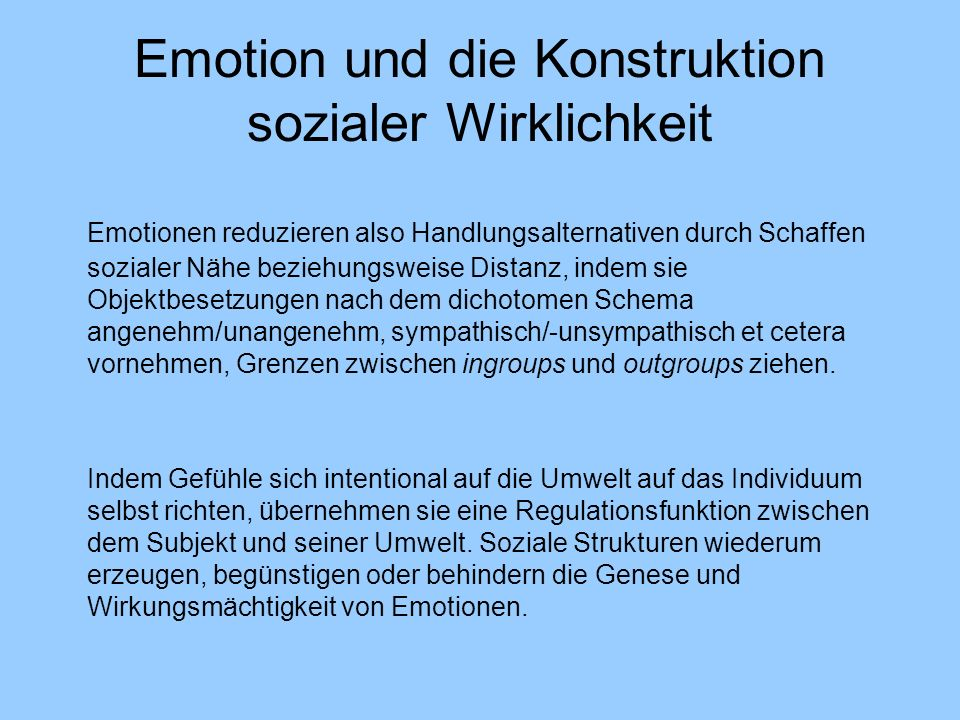 Emotion und die Konstruktion sozialer Wirklichkeit