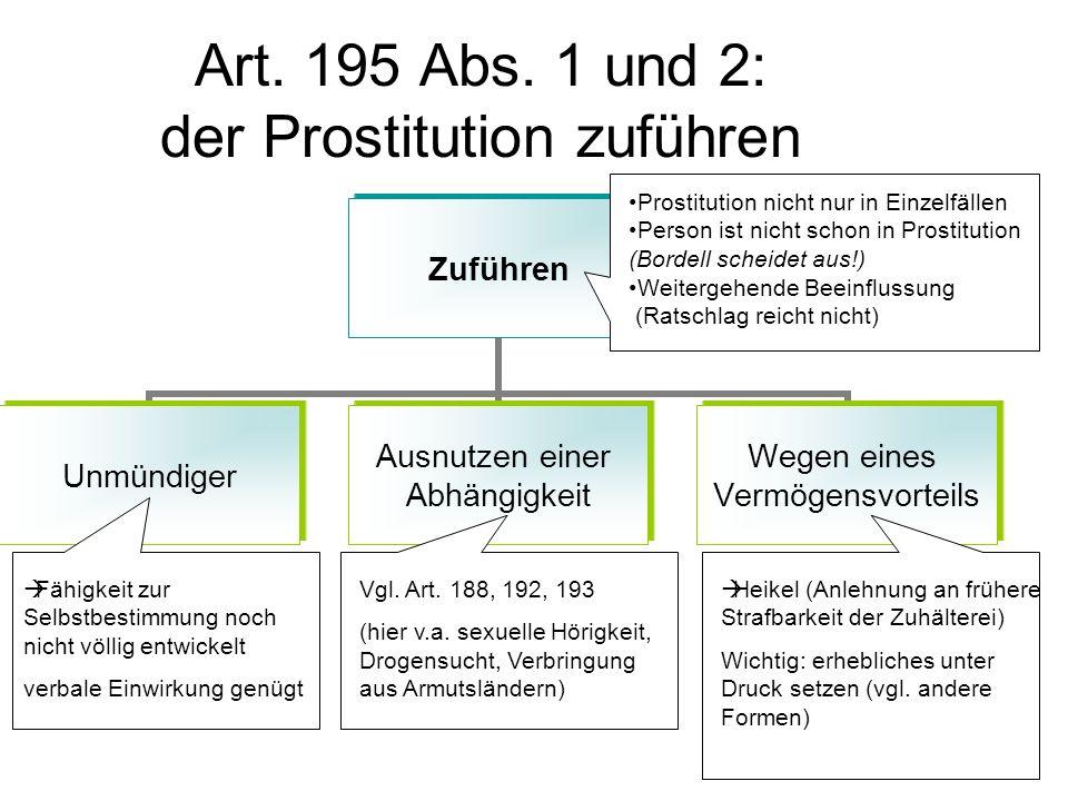 Art. 195 Abs. 1 und 2: der Prostitution zuführen
