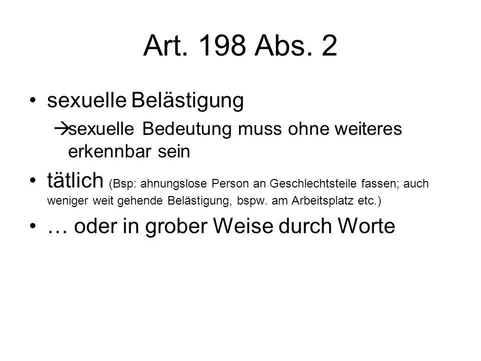 Art. 198 Abs. 2 sexuelle Belästigung