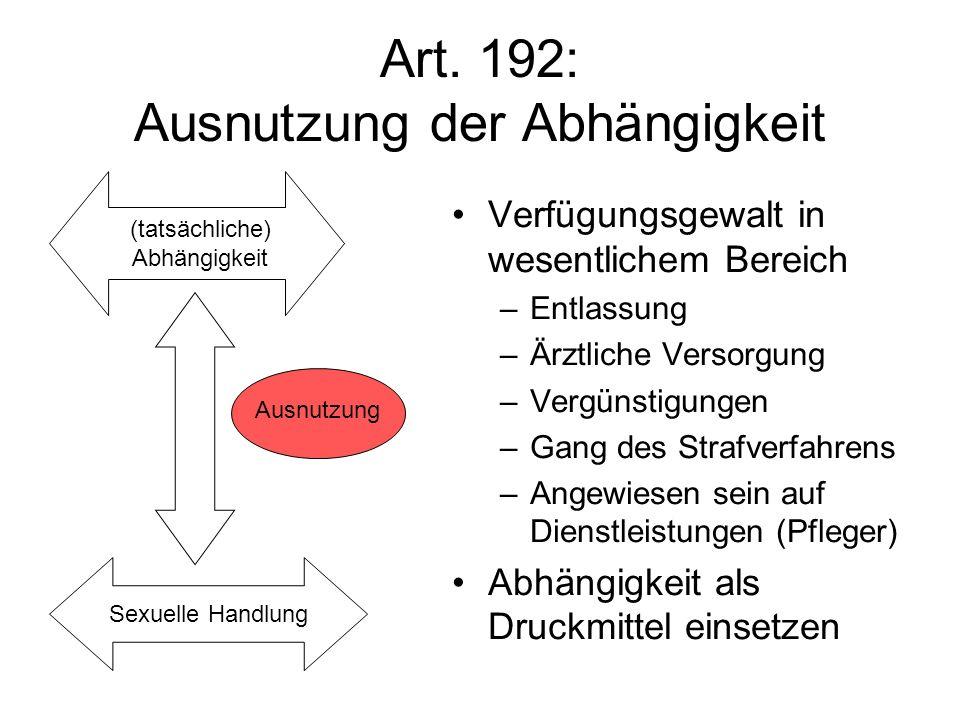 Art. 192: Ausnutzung der Abhängigkeit