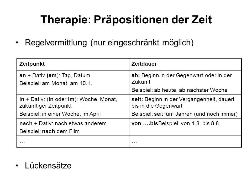 Therapie: Präpositionen der Zeit