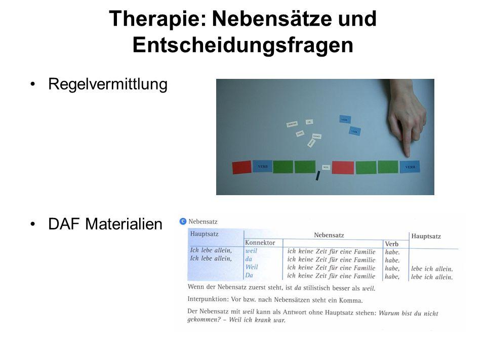 Therapie: Nebensätze und Entscheidungsfragen