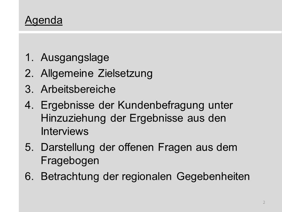 Agenda Ausgangslage. Allgemeine Zielsetzung. Arbeitsbereiche. Ergebnisse der Kundenbefragung unter Hinzuziehung der Ergebnisse aus den Interviews.