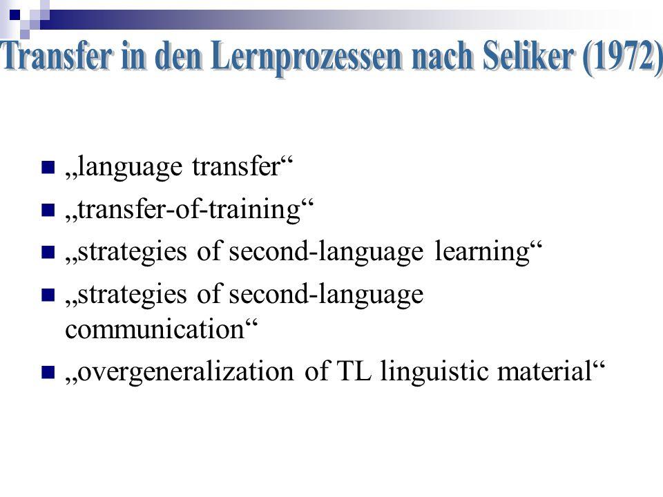 Transfer in den Lernprozessen nach Seliker (1972)