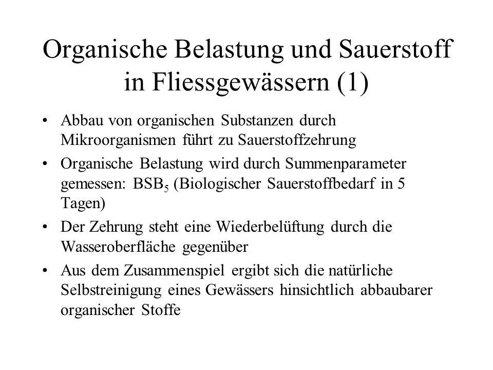 Organische Belastung und Sauerstoff in Fliessgewässern (1)