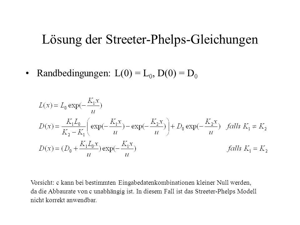 Lösung der Streeter-Phelps-Gleichungen