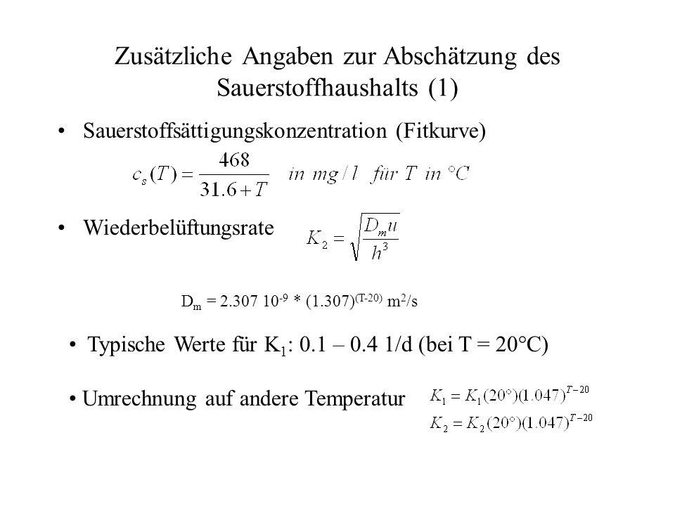 Zusätzliche Angaben zur Abschätzung des Sauerstoffhaushalts (1)