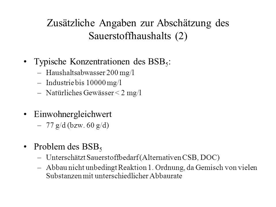 Zusätzliche Angaben zur Abschätzung des Sauerstoffhaushalts (2)