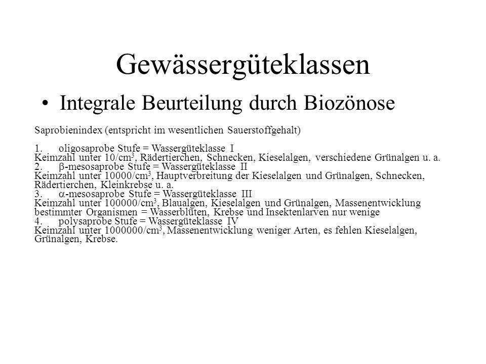 Gewässergüteklassen Integrale Beurteilung durch Biozönose