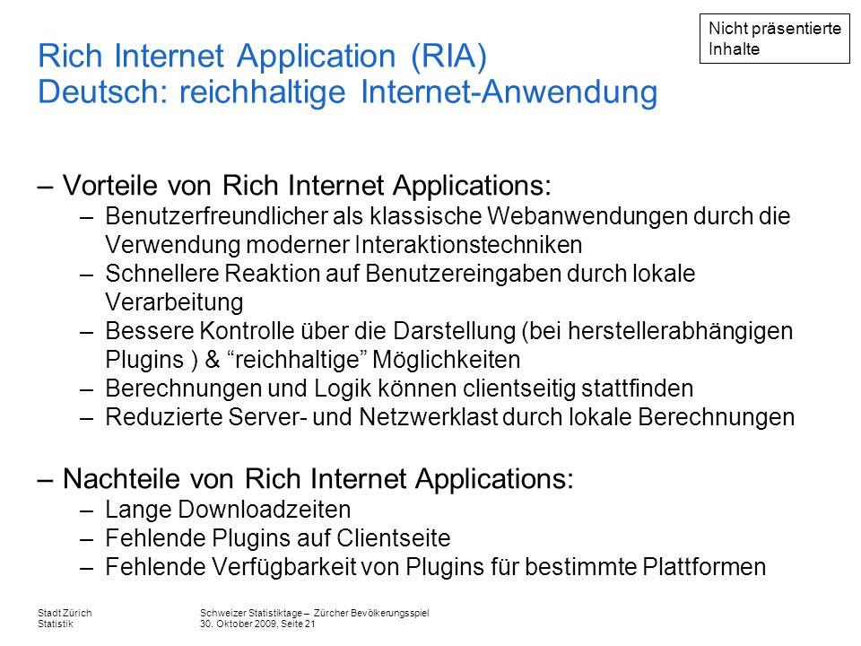 Nicht präsentierte Inhalte. Rich Internet Application (RIA) Deutsch: reichhaltige Internet-Anwendung.