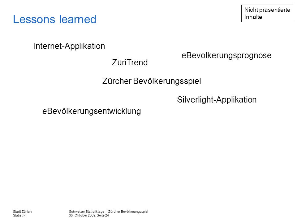 Lessons learned Internet-Applikation eBevölkerungsprognose ZüriTrend