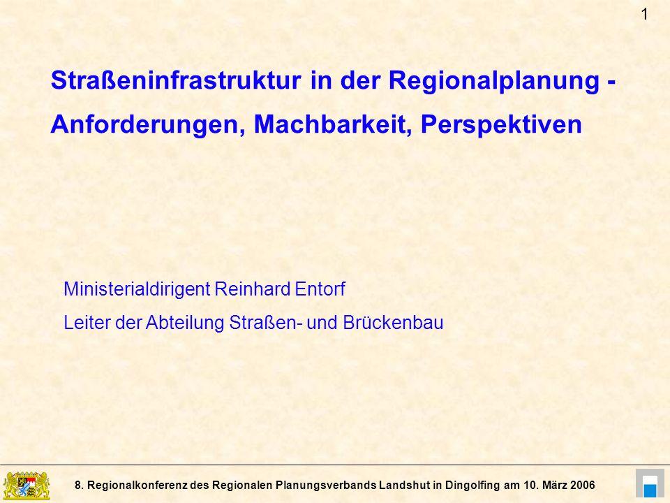 1 Straßeninfrastruktur in der Regionalplanung - Anforderungen, Machbarkeit, Perspektiven.