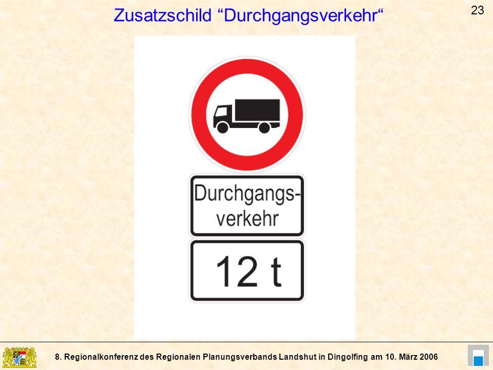 Zusatzschild Durchgangsverkehr