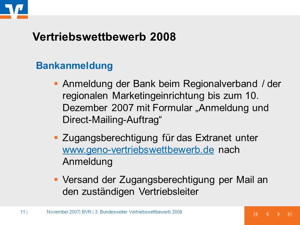 Vertriebswettbewerb 2008 Bankanmeldung