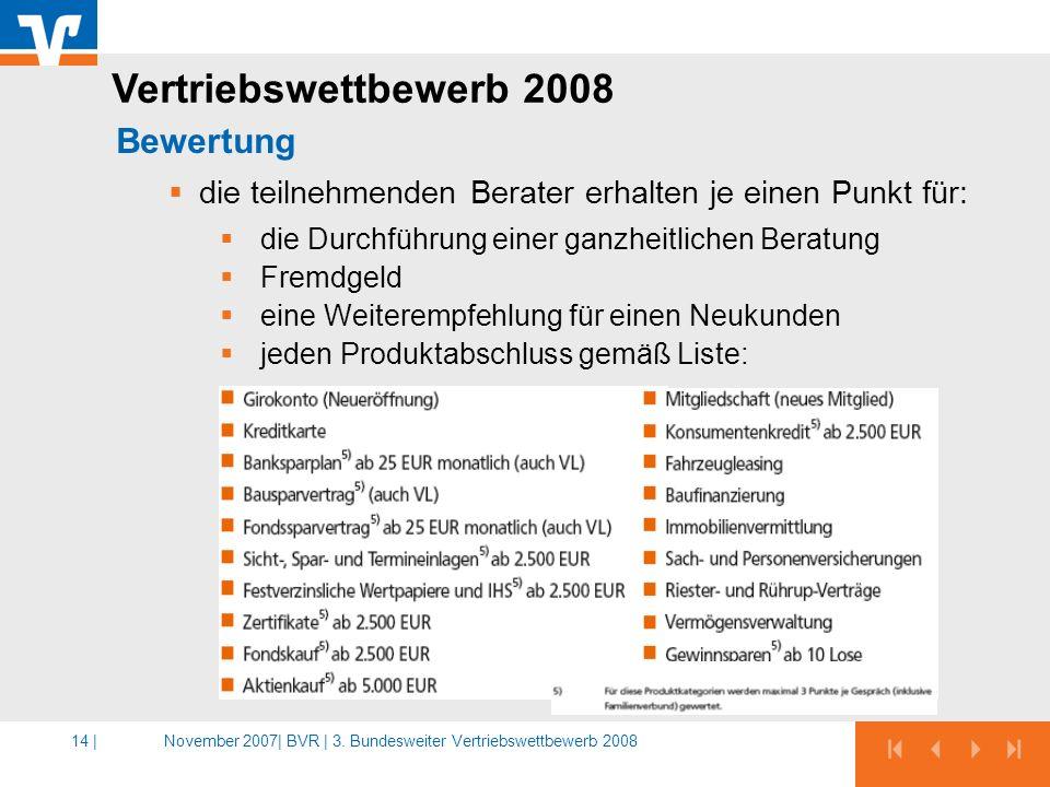 Vertriebswettbewerb 2008 Bewertung