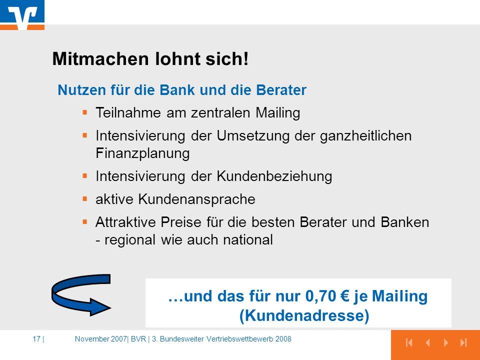 …und das für nur 0,70 € je Mailing (Kundenadresse)