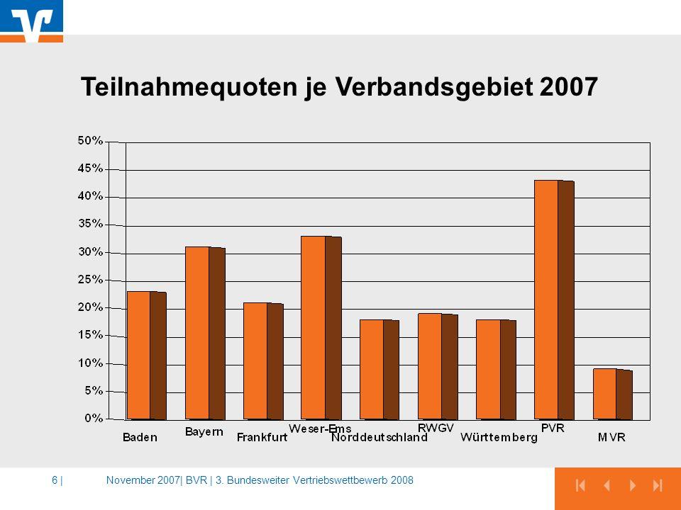 Teilnahmequoten je Verbandsgebiet 2007