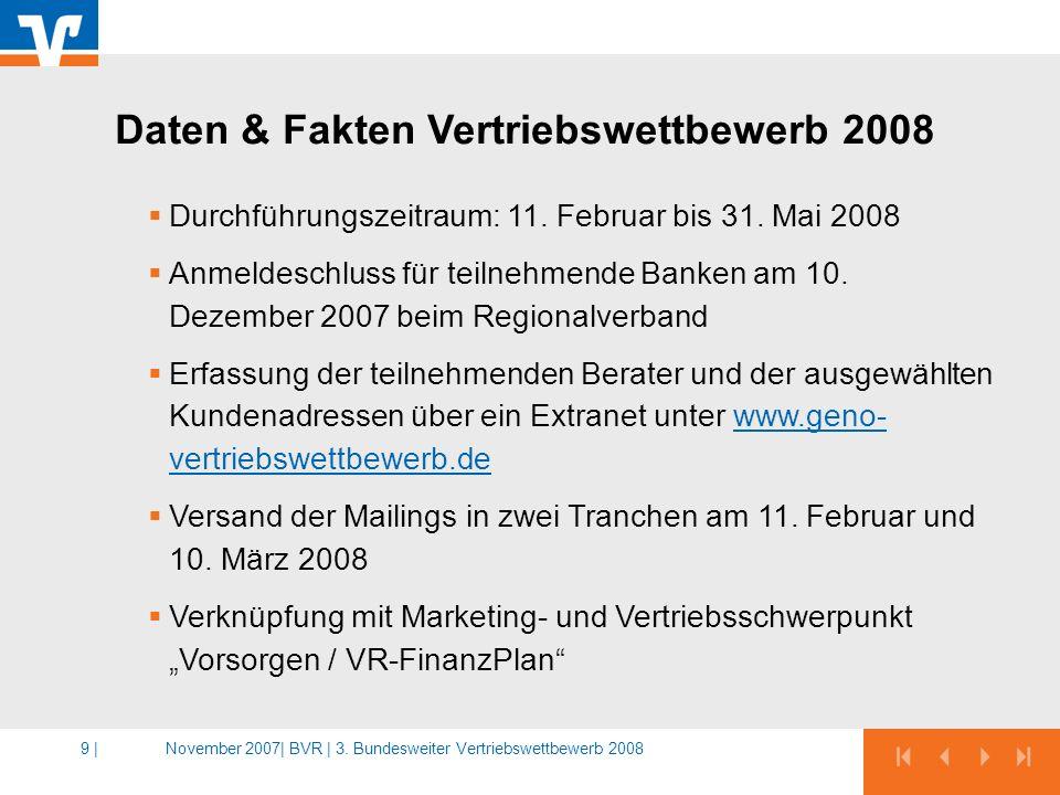 Daten & Fakten Vertriebswettbewerb 2008