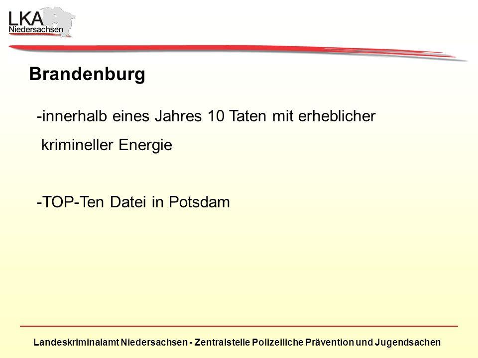 Brandenburg innerhalb eines Jahres 10 Taten mit erheblicher