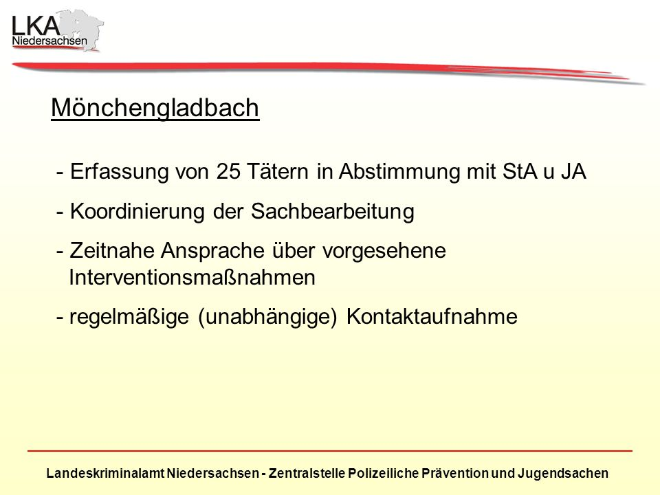 Mönchengladbach Erfassung von 25 Tätern in Abstimmung mit StA u JA