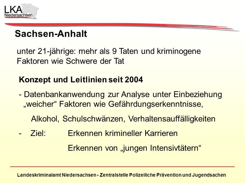 Sachsen-Anhalt unter 21-jährige: mehr als 9 Taten und kriminogene Faktoren wie Schwere der Tat. Konzept und Leitlinien seit 2004.