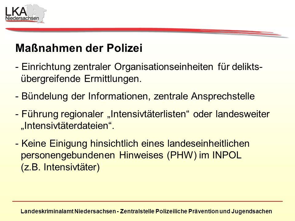 Maßnahmen der Polizei Einrichtung zentraler Organisationseinheiten für delikts- übergreifende Ermittlungen.
