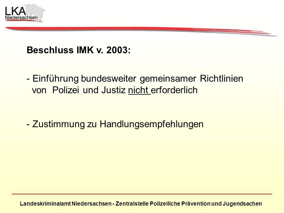 Beschluss IMK v. 2003: Einführung bundesweiter gemeinsamer Richtlinien. von Polizei und Justiz nicht erforderlich.