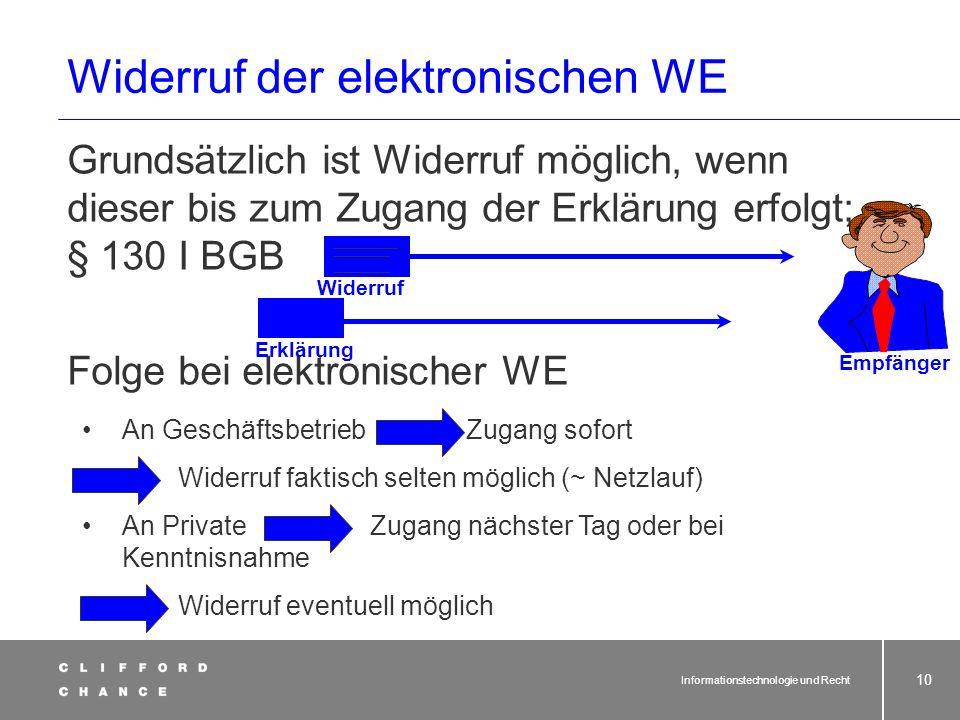 Widerruf der elektronischen WE