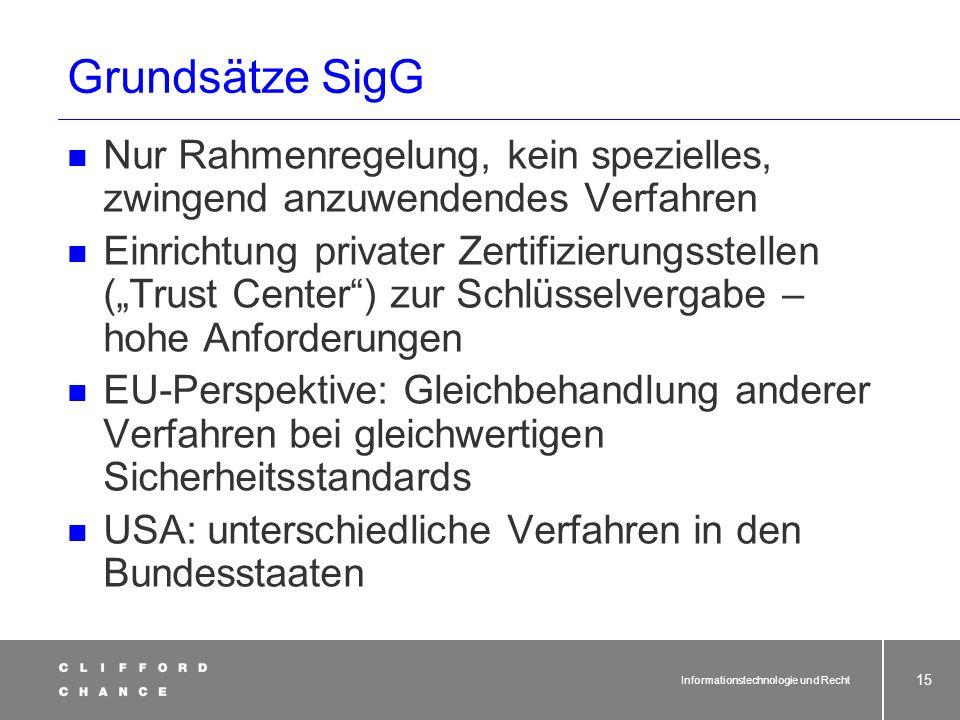 Grundsätze SigG Nur Rahmenregelung, kein spezielles, zwingend anzuwendendes Verfahren.