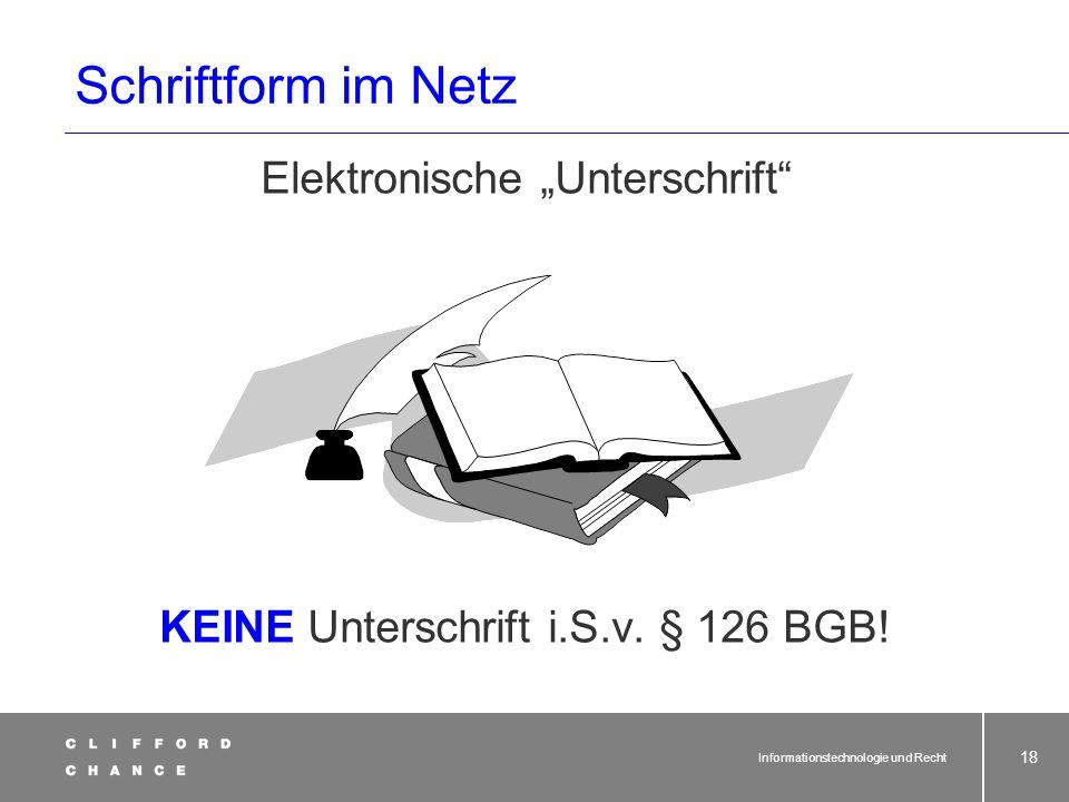 """Schriftform im Netz Elektronische """"Unterschrift"""