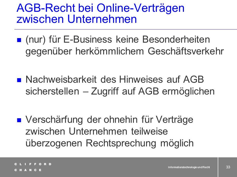 AGB-Recht bei Online-Verträgen zwischen Unternehmen