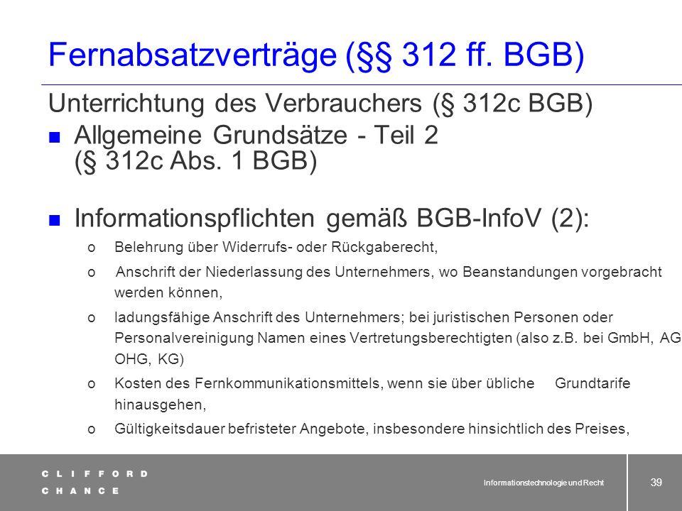 Fernabsatzverträge (§§ 312 ff. BGB)