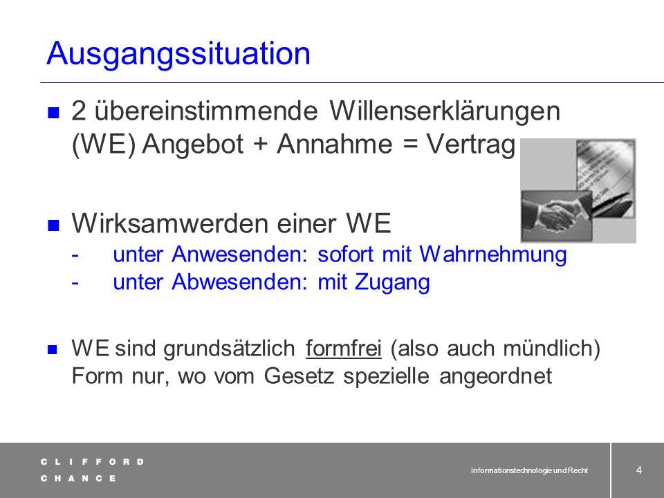 Ausgangssituation 2 übereinstimmende Willenserklärungen (WE) Angebot + Annahme = Vertrag.