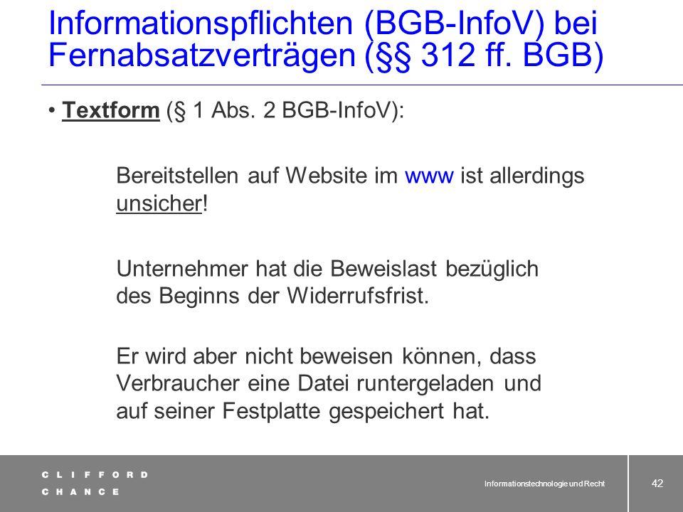 Informationspflichten (BGB-InfoV) bei Fernabsatzverträgen (§§ 312 ff