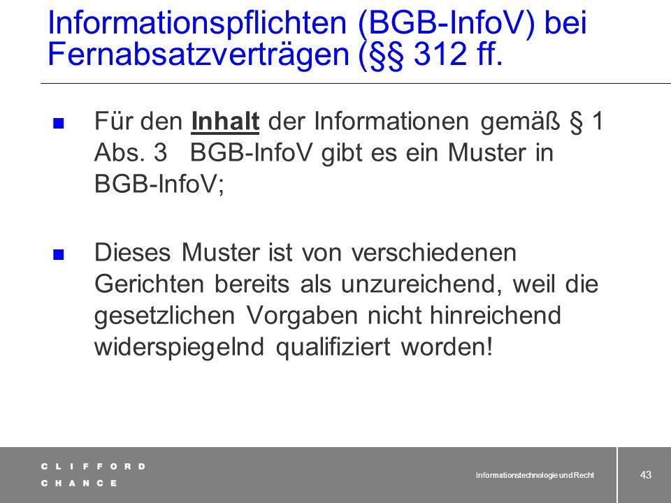 Informationspflichten (BGB-InfoV) bei Fernabsatzverträgen (§§ 312 ff.