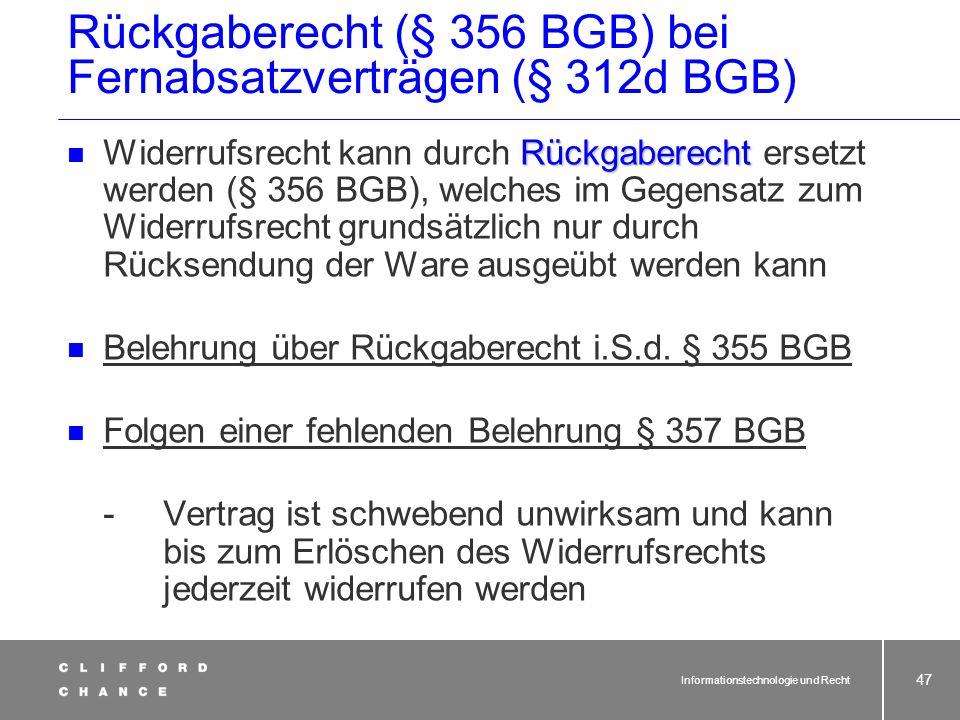 Rückgaberecht (§ 356 BGB) bei Fernabsatzverträgen (§ 312d BGB)