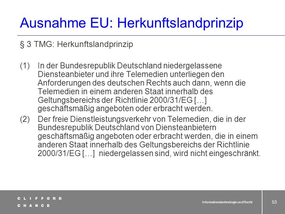 Ausnahme EU: Herkunftslandprinzip