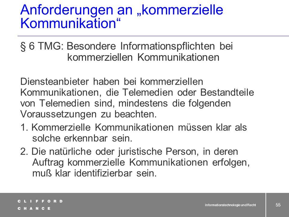 """Anforderungen an """"kommerzielle Kommunikation"""