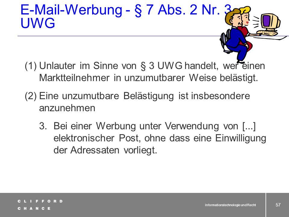 E-Mail-Werbung - § 7 Abs. 2 Nr. 3 UWG