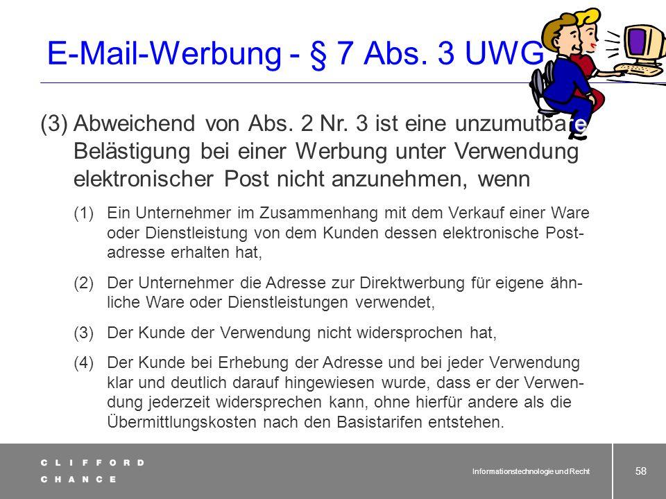 E-Mail-Werbung - § 7 Abs. 3 UWG